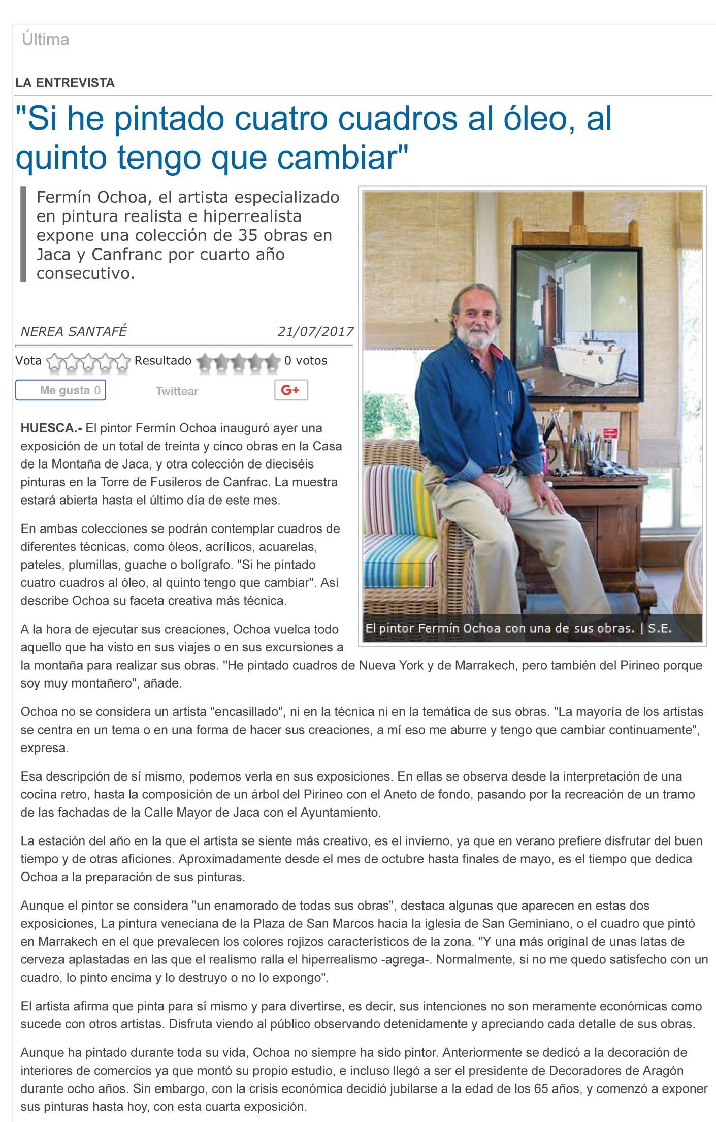 Entrevista en el Diario del Altoaragón